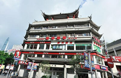 KFC restaurant in old, ornate Chinese building